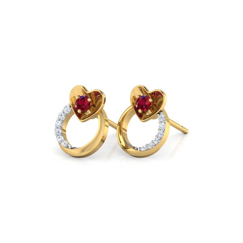 Pretty Ruby Heart Stud Earrings