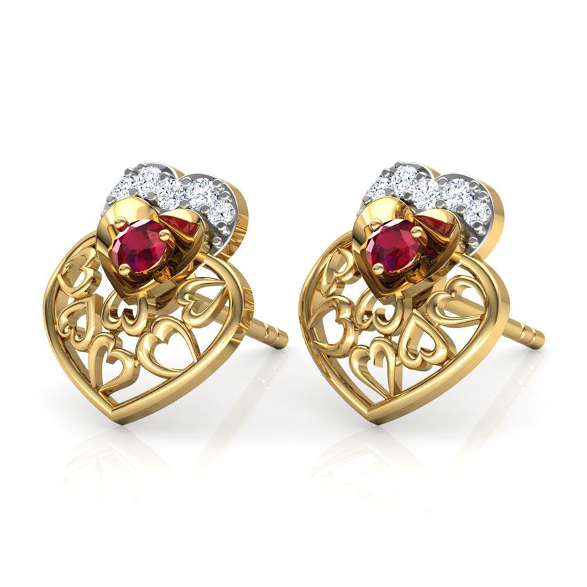 Alluring Ruby Heart Stud Earrings