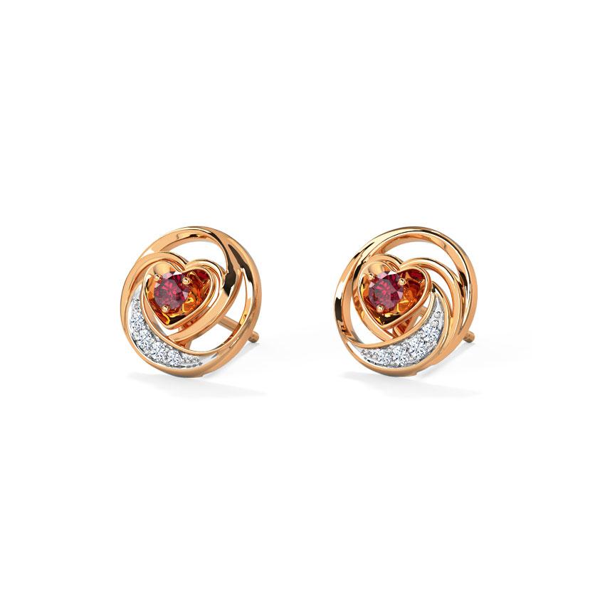 Lovable Ruby Heart Stud Earrings