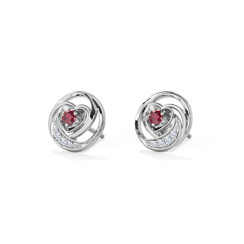 Diamond,Gemstone Earrings 18 Karat White Gold Lovable Heart Gemstone Stud Earrings