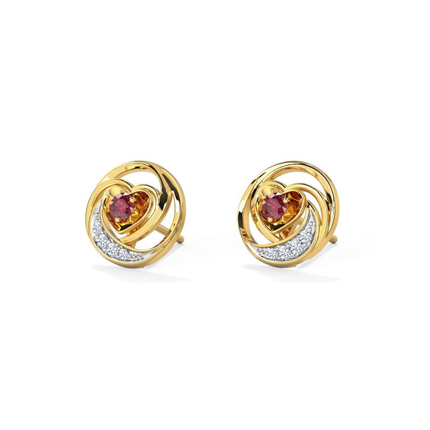Diamond,Gemstone Earrings 18 Karat Yellow Gold Lovable Heart Gemstone Stud Earrings