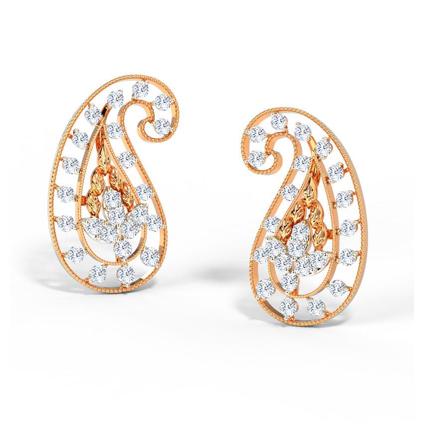 Diamond Earrings 14 Karat Rose Gold Deco Paisley Diamond Stud Earrings