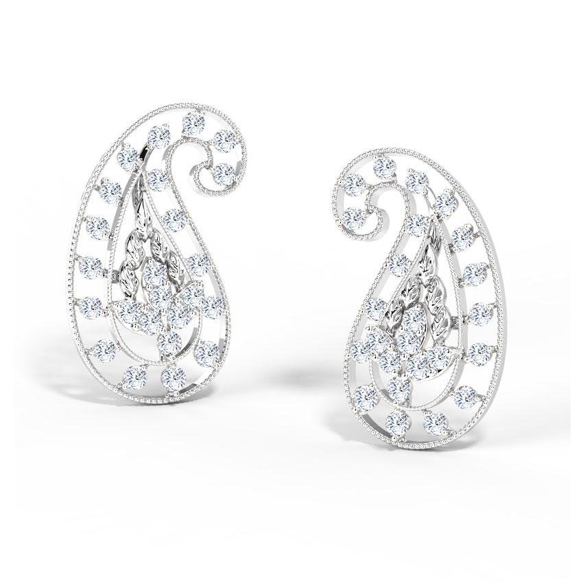 Diamond Earrings 18 Karat White Gold Deco Paisley Diamond Stud Earrings