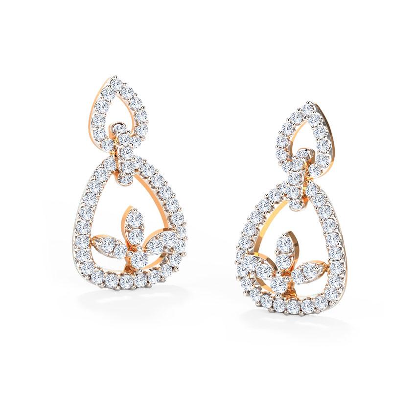 Diamond Earrings 18 Karat Rose Gold Finery Diamond Drop Earrings