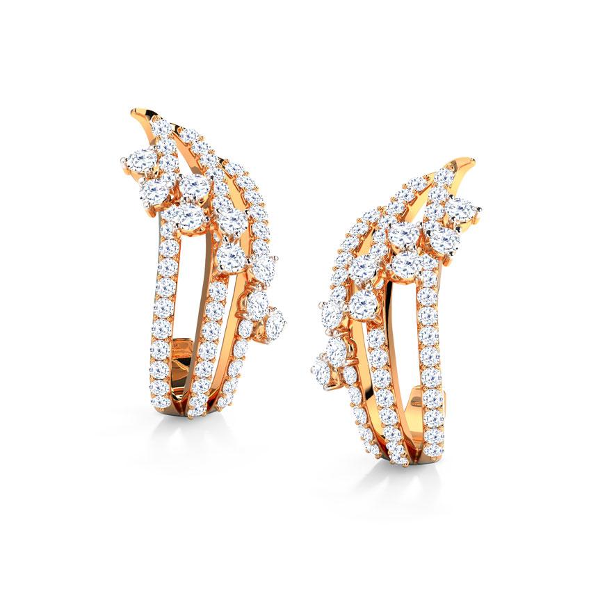 Diamond Earrings 18 Karat Rose Gold Melissa Wave Diamond Hoop Earrings