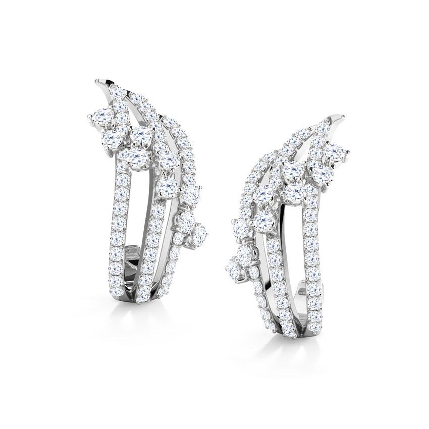 Diamond Earrings 18 Karat White Gold Melissa Wave Diamond Hoop Earrings
