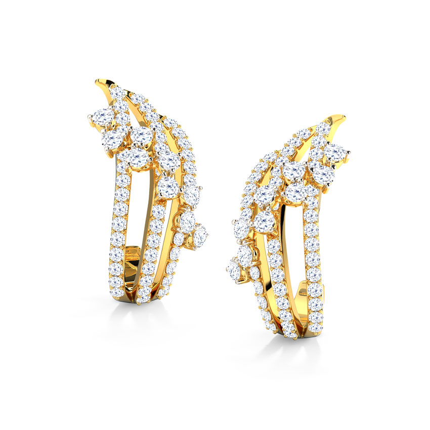 Diamond Earrings 18 Karat Yellow Gold Melissa Wave Diamond Hoop Earrings