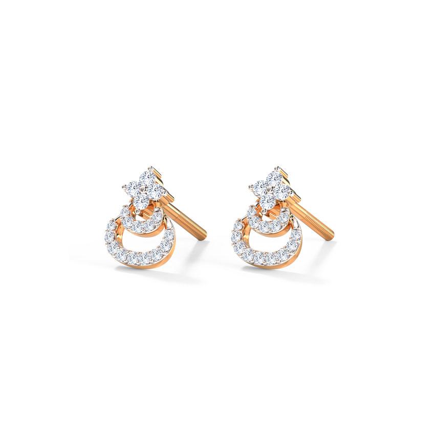 Diamond Earrings 18 Karat Rose Gold Aksh Diamond Stud Earrings
