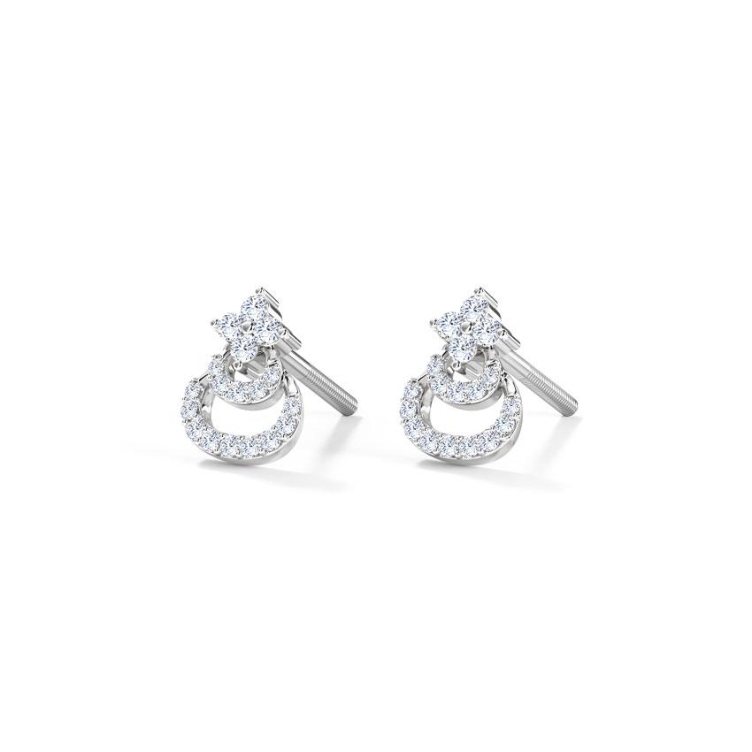 Diamond Earrings 14 Karat White Gold Aksh Diamond Stud Earrings