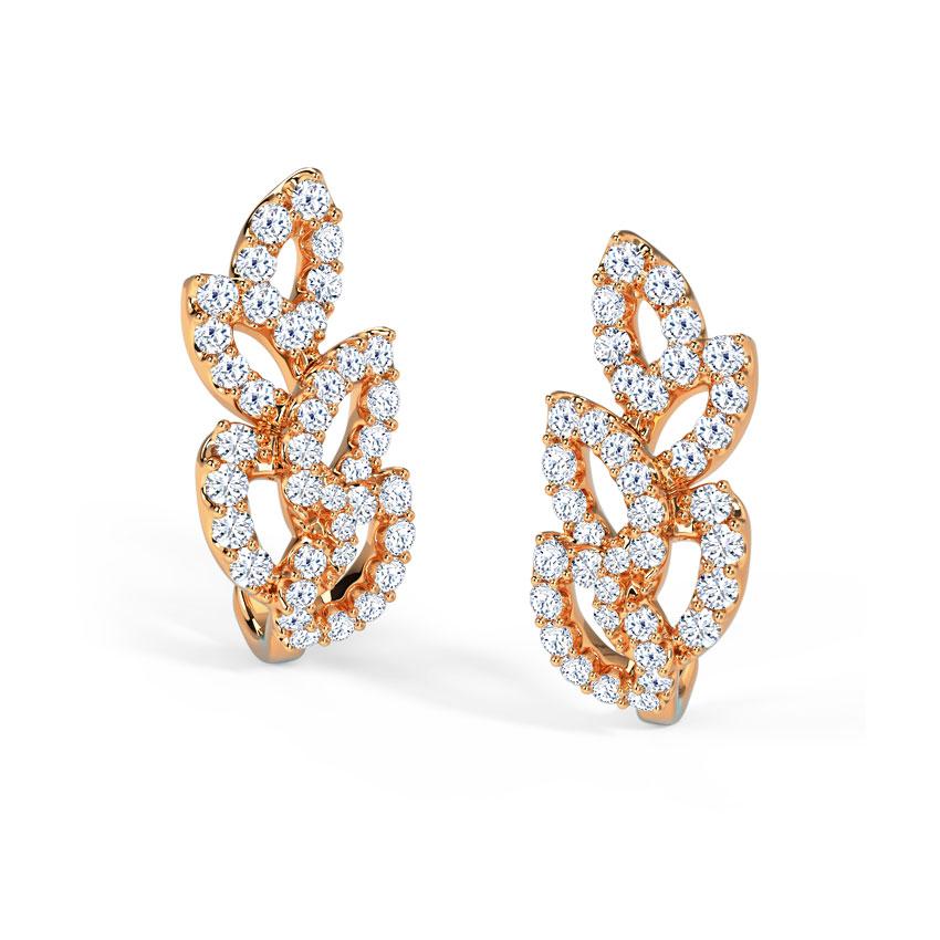 Diamond Earrings 18 Karat Rose Gold Leaflet Diamond Hoop Earrings
