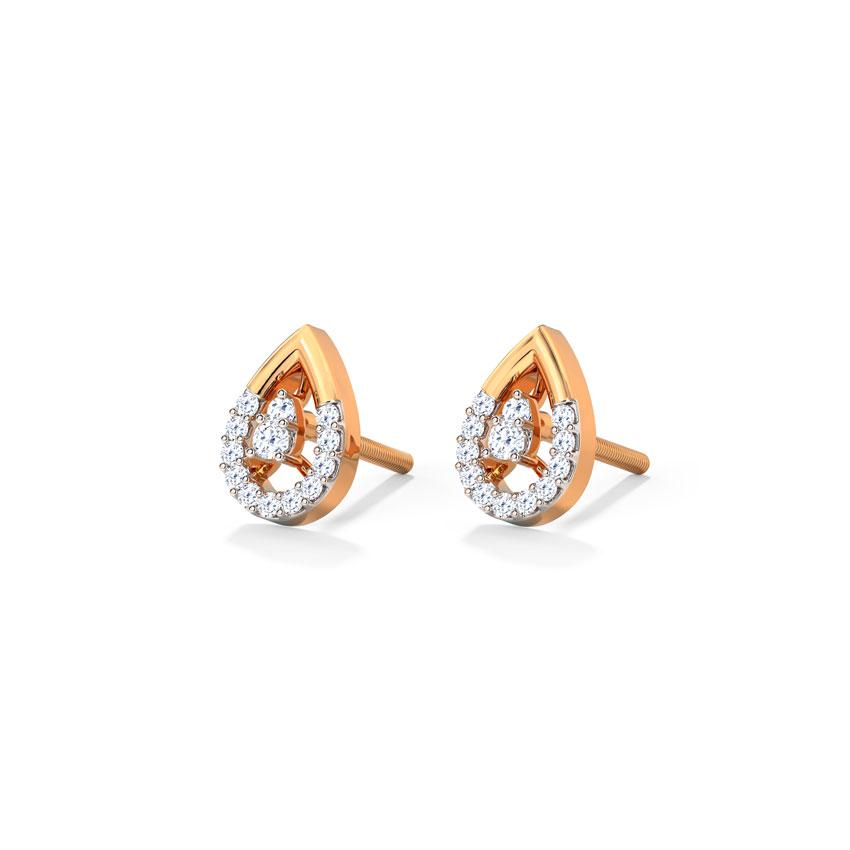 Diamond Earrings 14 Karat Rose Gold Drib Drop Diamond Stud Earrings