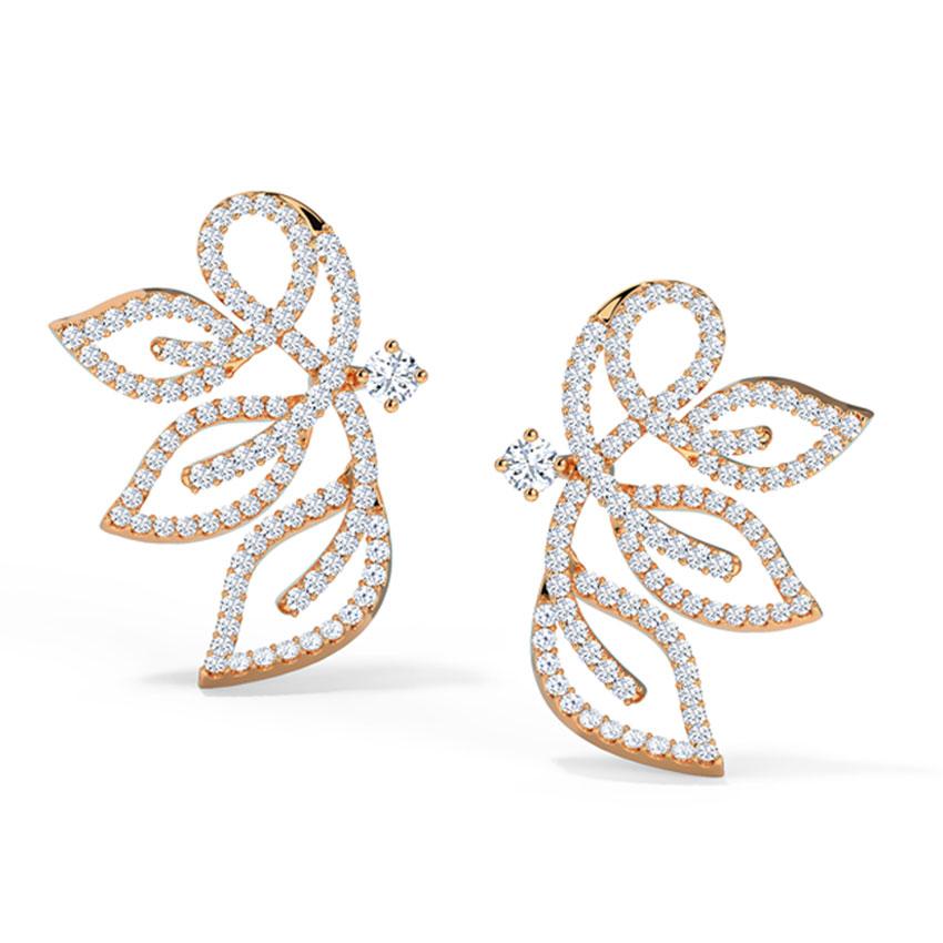 Diamond Earrings 18 Karat Rose Gold Insignia Leaf Diamond Stud Earrings