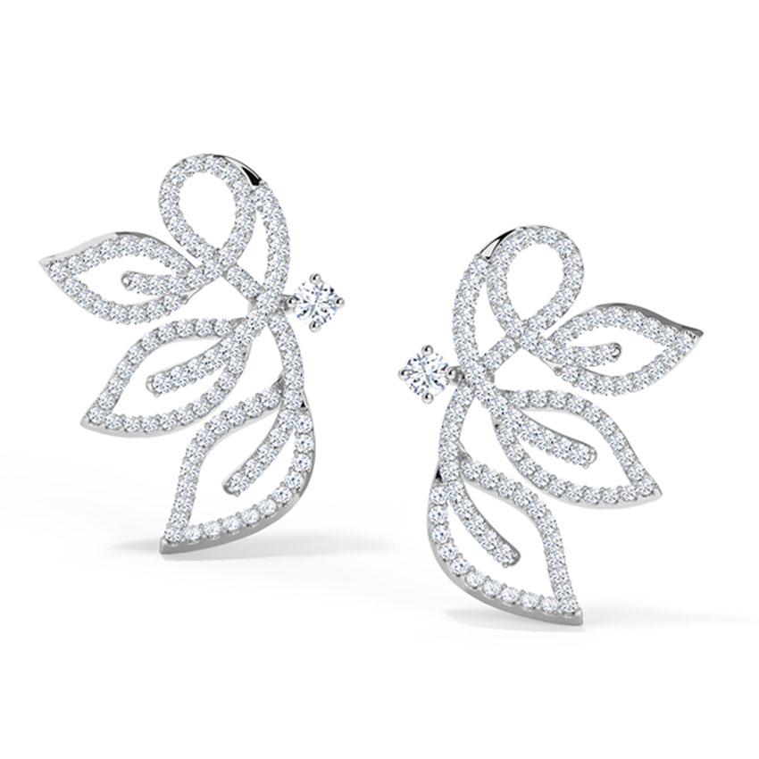 Diamond Earrings 18 Karat White Gold Insignia Leaf Diamond Stud Earrings