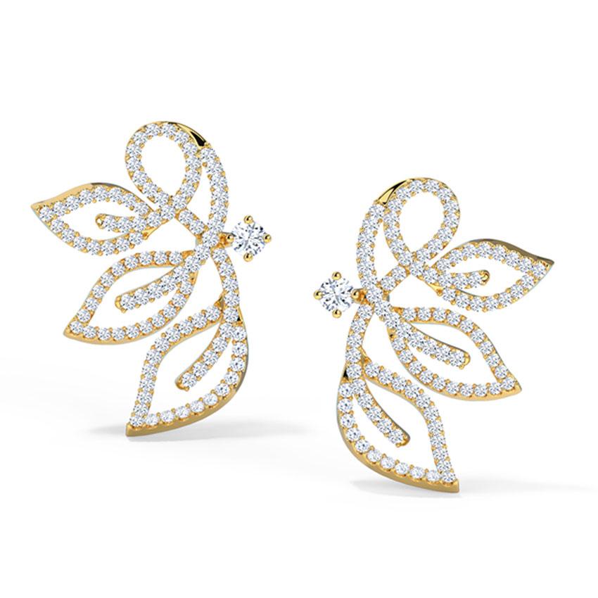 Diamond Earrings 18 Karat Yellow Gold Insignia Leaf Diamond Stud Earrings