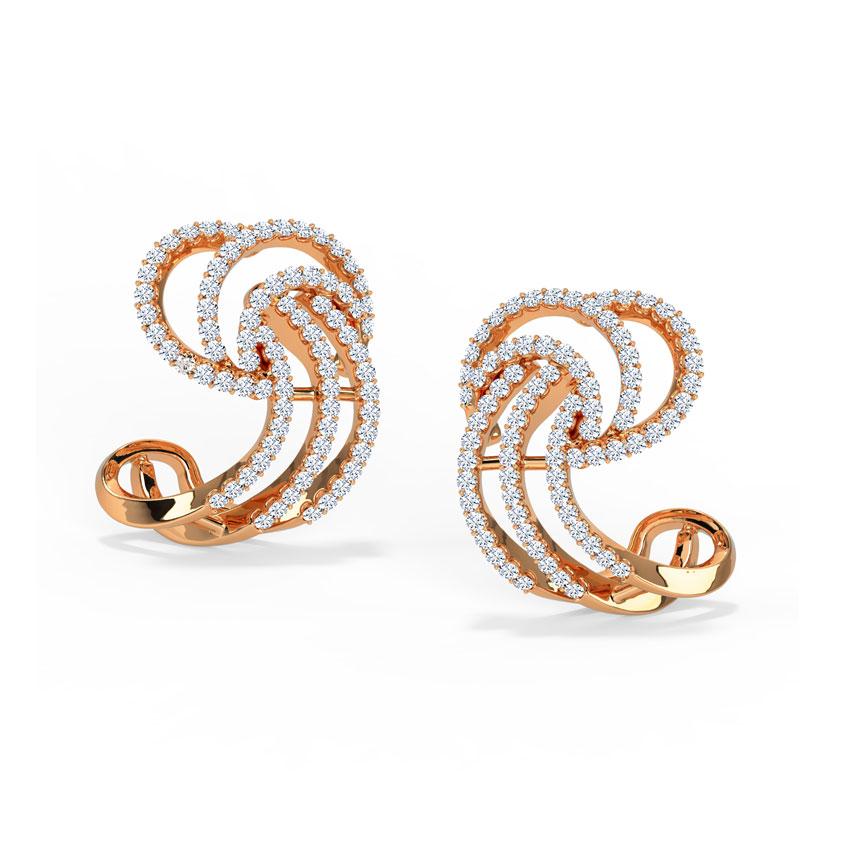 Diamond Earrings 18 Karat Rose Gold Sparkflow Diamond Stud Earrings