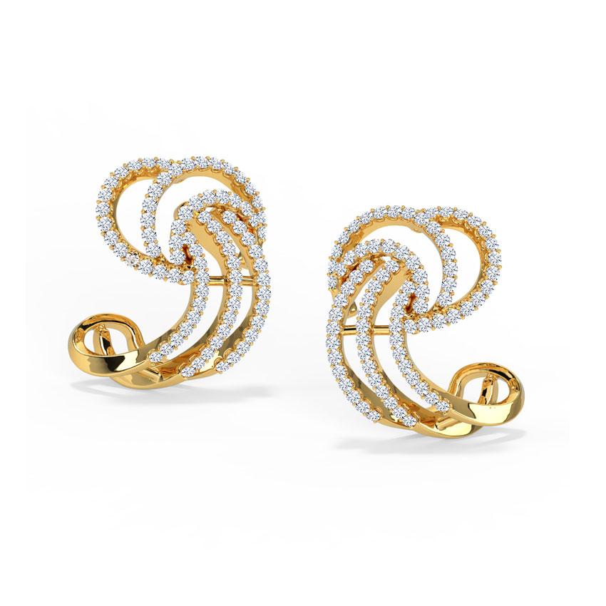 Diamond Earrings 18 Karat Yellow Gold Sparkflow Diamond Stud Earrings