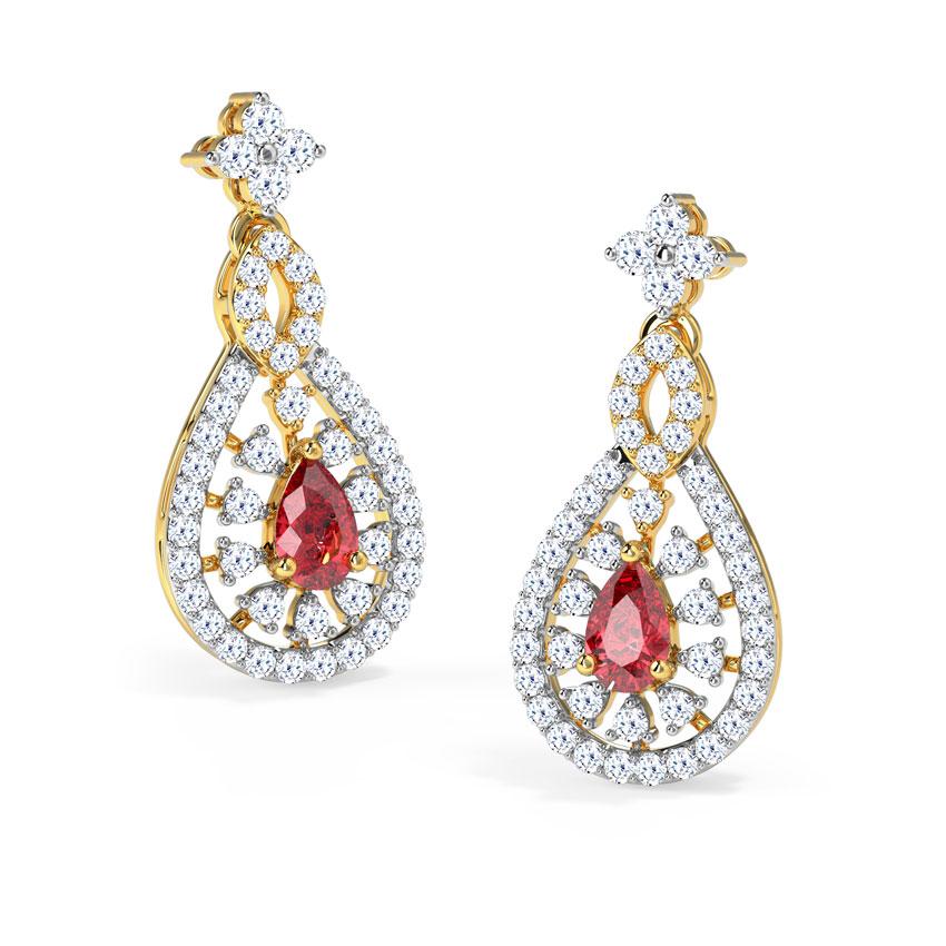 Diamond,Gemstone Earrings 18 Karat Yellow Gold Symona Gemstone Drop Earrings
