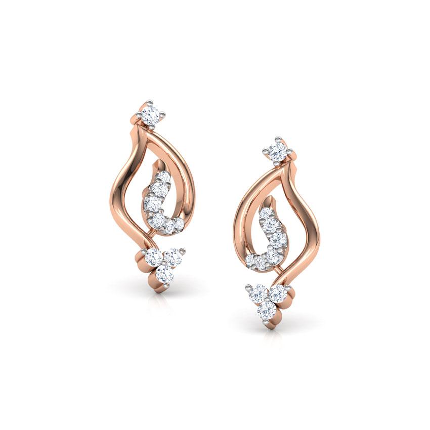 Diamond Earrings 14 Karat Rose Gold Trista Diamond Stud Earrings