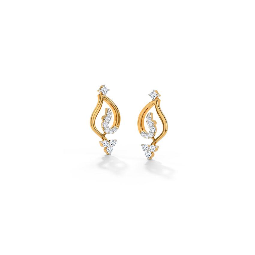 Diamond Earrings 18 Karat Yellow Gold Trista Diamond Stud Earrings