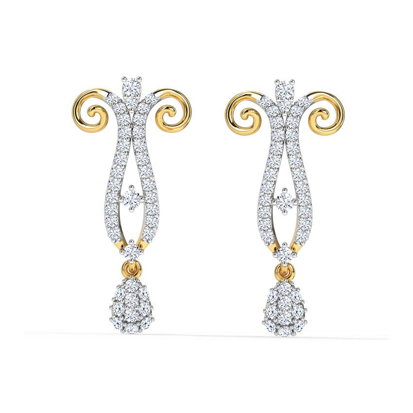 Diamond Earrings 18 Karat Yellow Gold Crypsis Diamond Drop Earrings