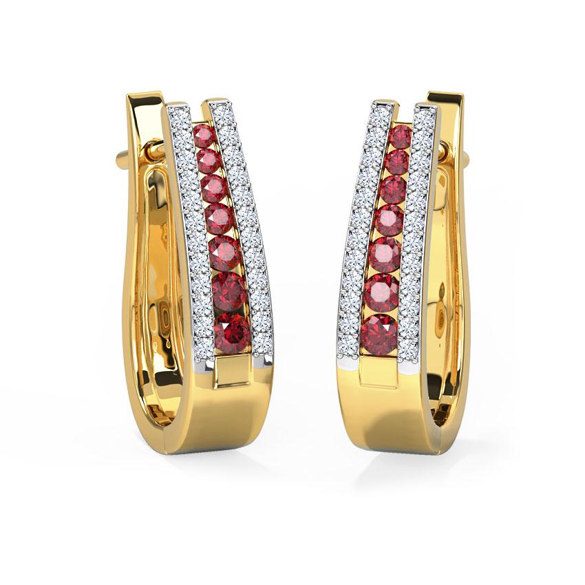 Diamond,Gemstone Earrings 14 Karat Yellow Gold Tri Row Gemstone Hoop Earrings