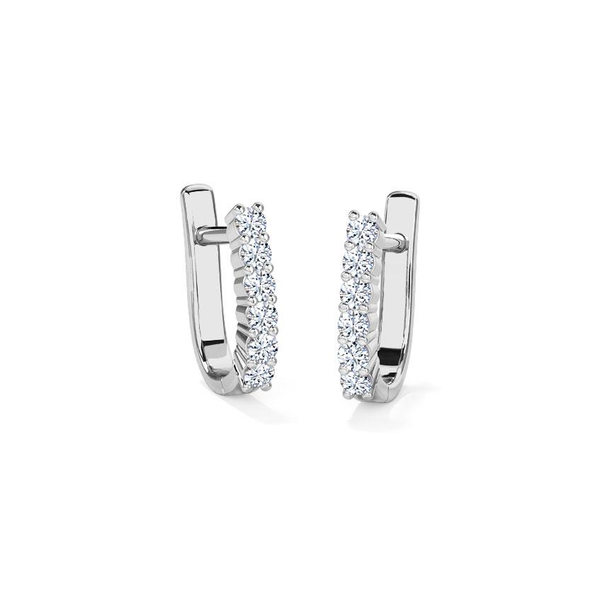 Diamond Earrings 18 Karat White Gold Classic Linear Diamond Hoop Earrings