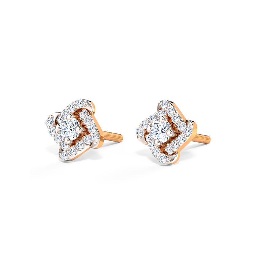 Diamond Earrings 18 Karat Rose Gold Charm Curves Diamond Stud Earrings