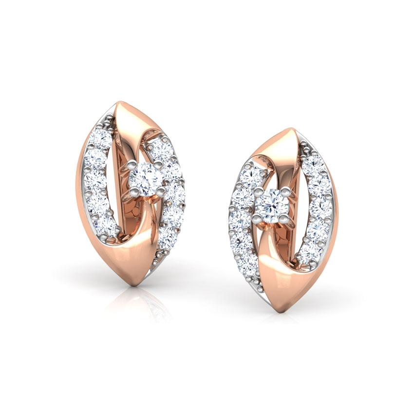 Diamond Earrings 18 Karat Rose Gold Joyous Swirl Diamond Stud Earrings