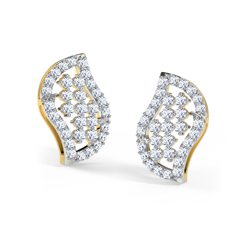 Chequered Curve Stud Earrings