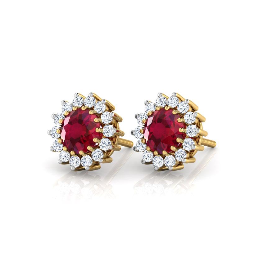 Diamond,Gemstone Earrings 18 Karat Yellow Gold Classic Spark Stud Earrings