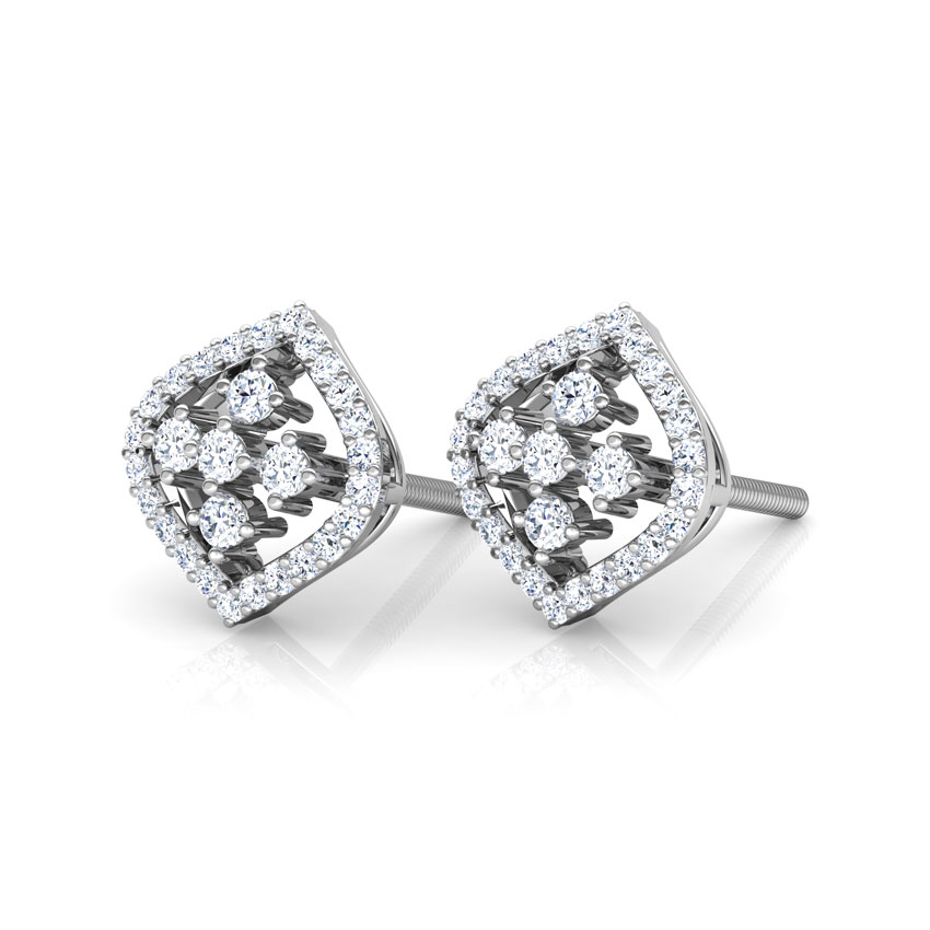 Diamond Earrings 18 Karat White Gold Curved Kite Diamond Stud Earrings