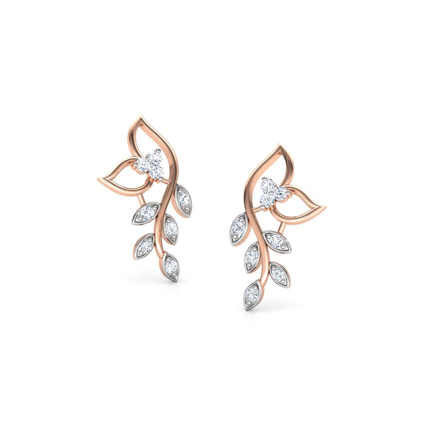 Classic Leaves Diamond Stud Earrings