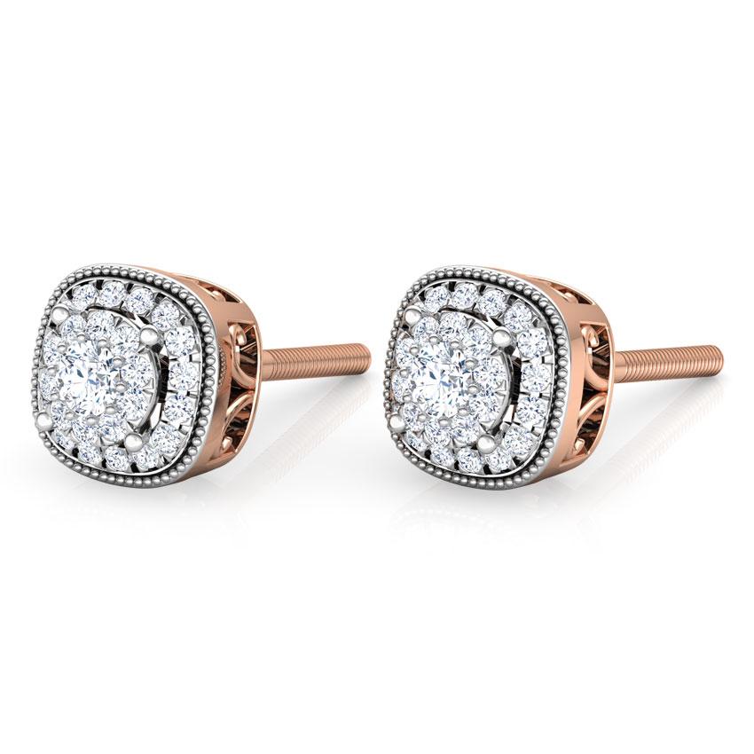 Diamond Earrings 14 Karat Rose Gold Classic Diamond Stud Earrings