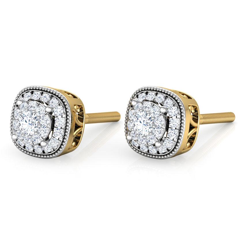 Diamond Earrings 18 Karat Yellow Gold Classic Diamond Stud Earrings