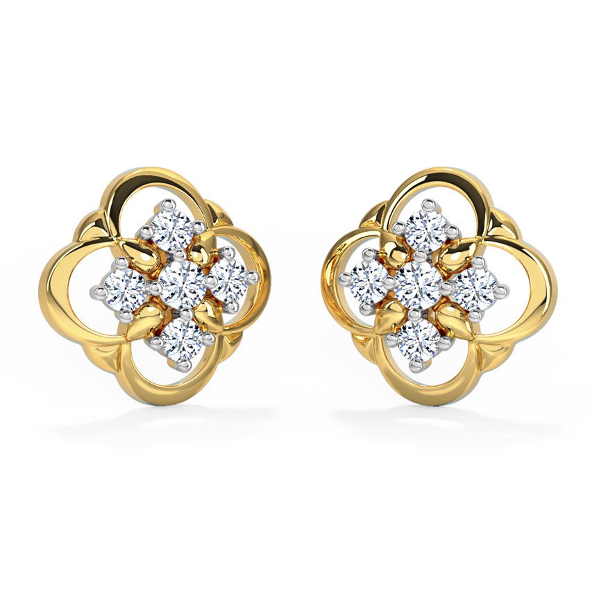 Diamond Earrings 18 Karat Yellow Gold Estrella Diamond Stud Earrings