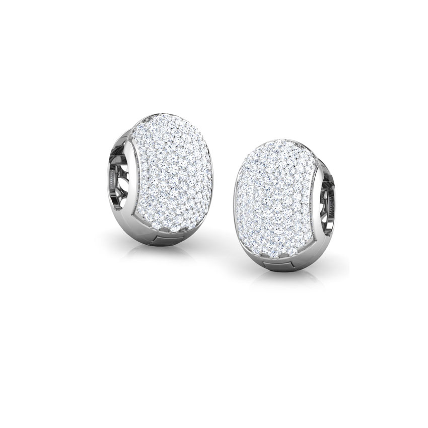 Diamond Earrings 14 Karat White Gold Sparkling Mesh Diamond Hoop Earrings