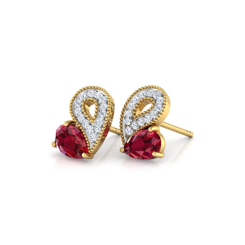 Glitzy Ruby Heart Earrings
