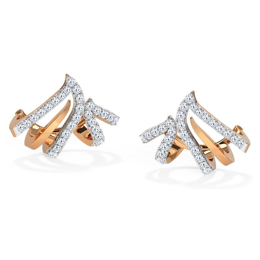 Diamond Earrings 14 Karat Rose Gold Arched Diamond Hoop Earrings