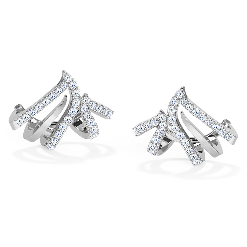 Diamond Earrings 18 Karat White Gold Arched Diamond Hoop Earrings