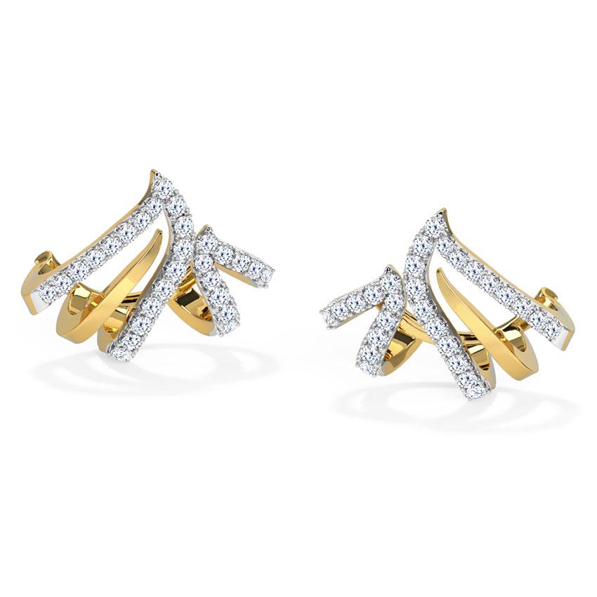Diamond Earrings 18 Karat Yellow Gold Arched Diamond Hoop Earrings