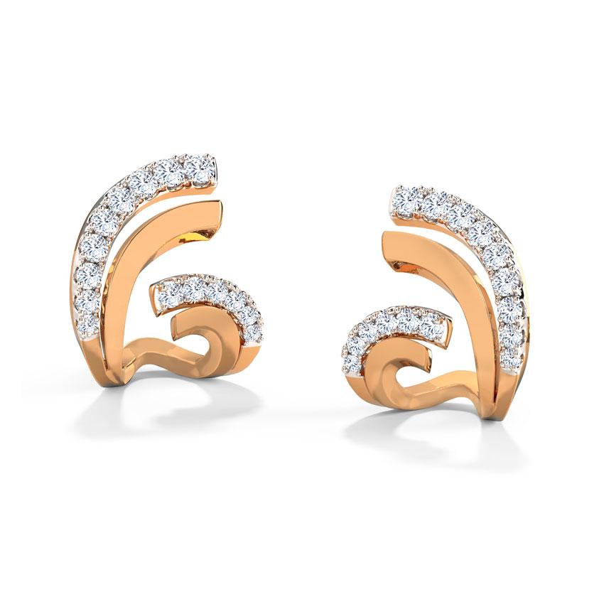 Diamond Earrings 18 Karat Rose Gold Flutter Hug Diamond Stud Earrings