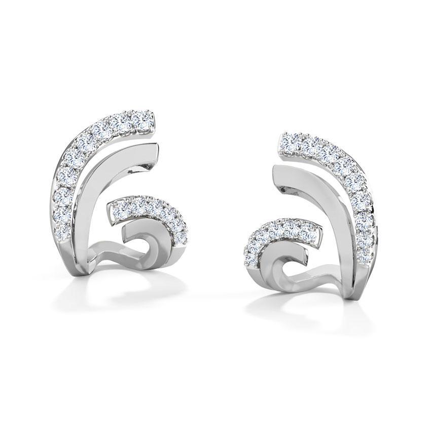 Diamond Earrings 18 Karat White Gold Flutter Hug Diamond Stud Earrings