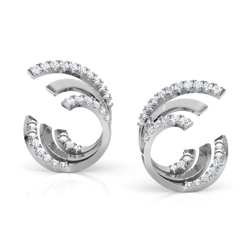 Diamond Earrings 14 Karat White Gold Spiral Diamond Hoop Earrings