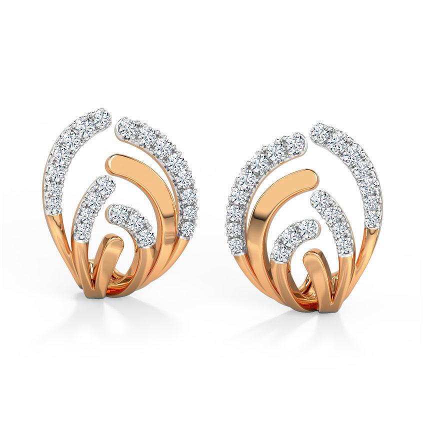 Diamond Earrings 14 Karat Rose Gold Curved Diamond Hoop Earrings