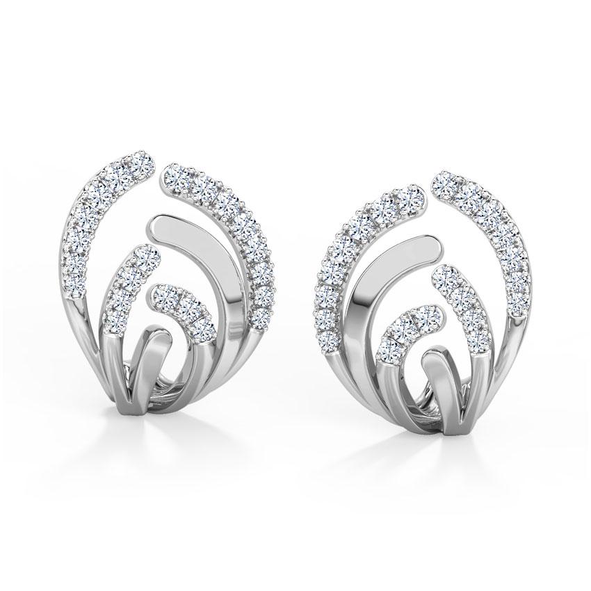 Diamond Earrings 18 Karat White Gold Curved Diamond Hoop Earrings