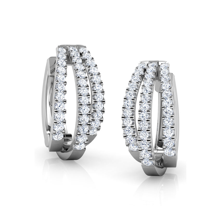 Diamond Earrings 18 Karat Rose Gold Tri Stripe Diamond Hoop Earrings