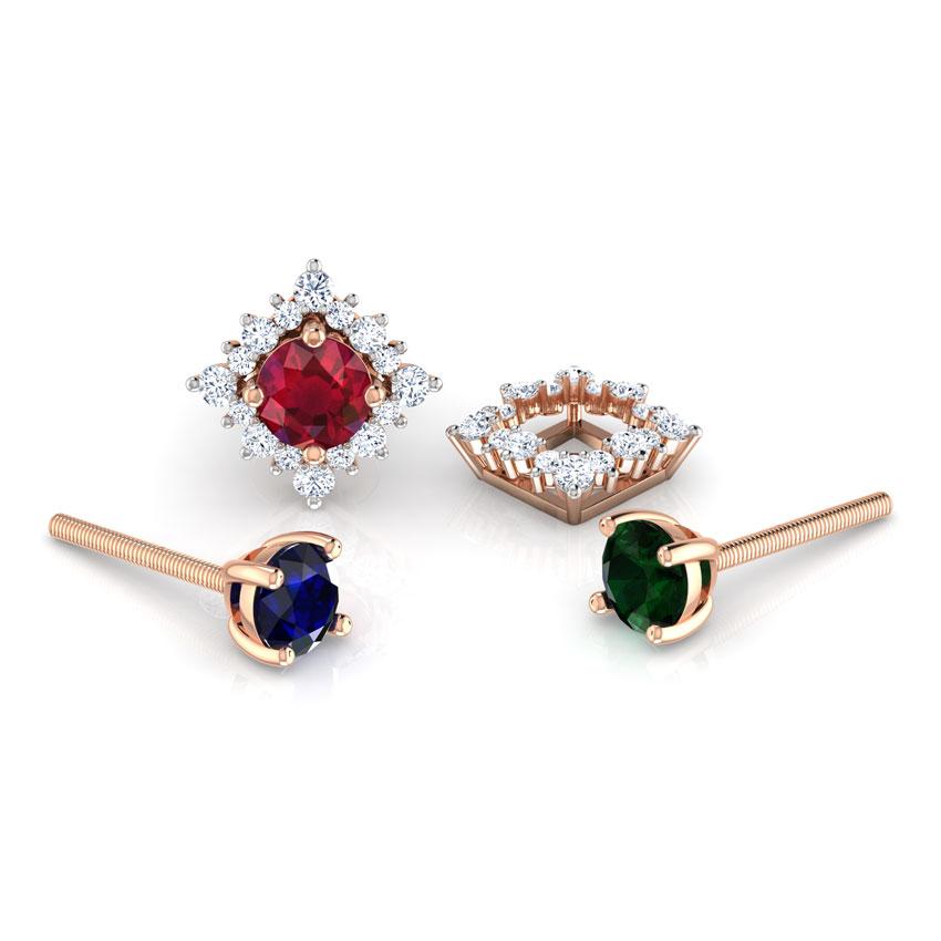 Diamond,Gemstone Earrings 18 Karat Rose Gold Rhombus Multi-Style Gemstone Stud Earrings