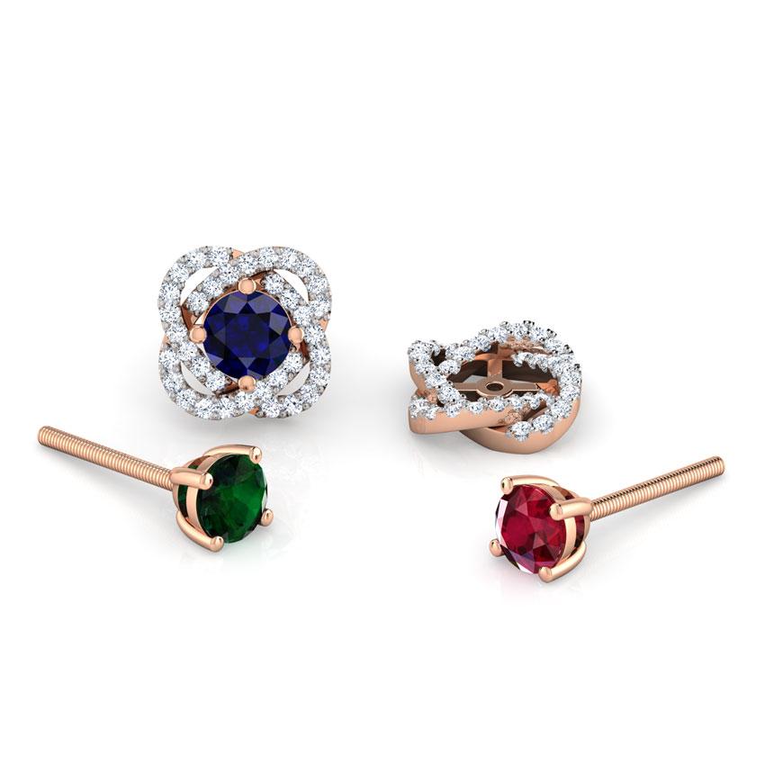 Diamond,Gemstone Earrings 14 Karat Rose Gold Bloom Multi-Style Gemstone Stud Earrings
