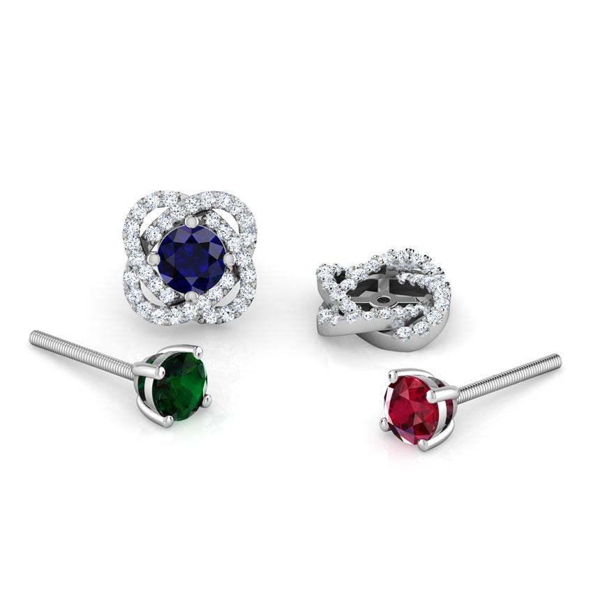 Diamond,Gemstone Earrings 18 Karat White Gold Bloom Multi-Style Gemstone Stud Earrings