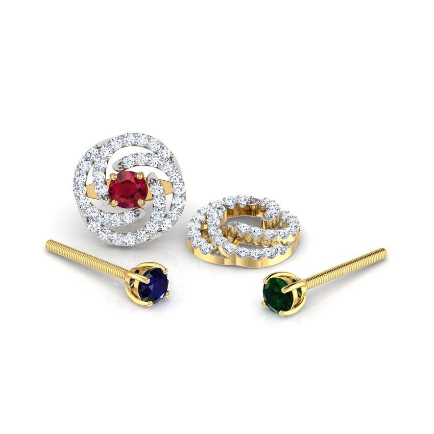 Diamond,Gemstone Earrings 18 Karat Yellow Gold Swirl Multi-Style Gemstone Stud Earrings